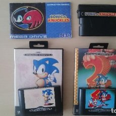Videojuegos y Consolas: SONIC THE HEDGEHOG + SONIC 2 + SONIC AND KNUCKLES PAL SEGA MEGA DRIVE. Lote 118731955