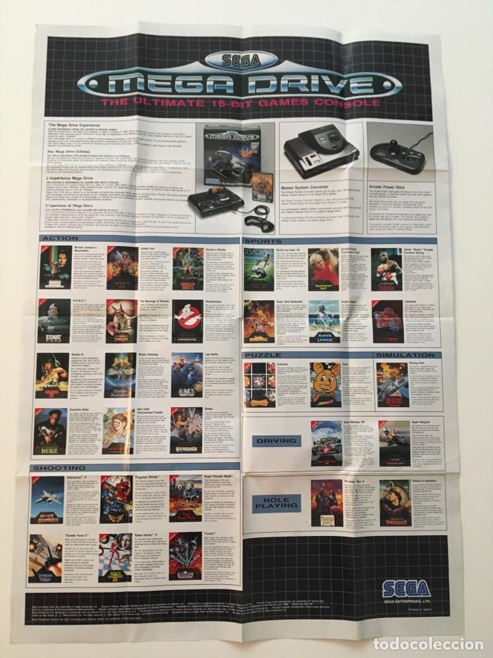 Videojuegos y Consolas: Póster Catálogo de juegos Sega Megadrive. Poster Super Mónaco GP. Años 90 - Foto 2 - 136049057