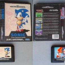 Videojuegos y Consolas: LOTE SEGA MEGA DRIVE SONIC THE HEDGEHOG 1 Y 2 CON CAJA BOXED CIB PAL R10435. Lote 198793537