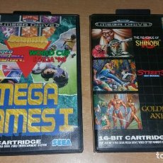 Videojuegos y Consolas: MEGA GAMES I II SHINOBI GOLDEN AXE STREETS RAGE HANG ON ITALIA 90 MEGADRIVE. Lote 200872732