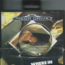 Videojuegos y Consolas: WHERE IN THE WORLD IS CARMEN SANDIEGO? CAJA VACÍA MEGADRIVE SEGA. Lote 218828037
