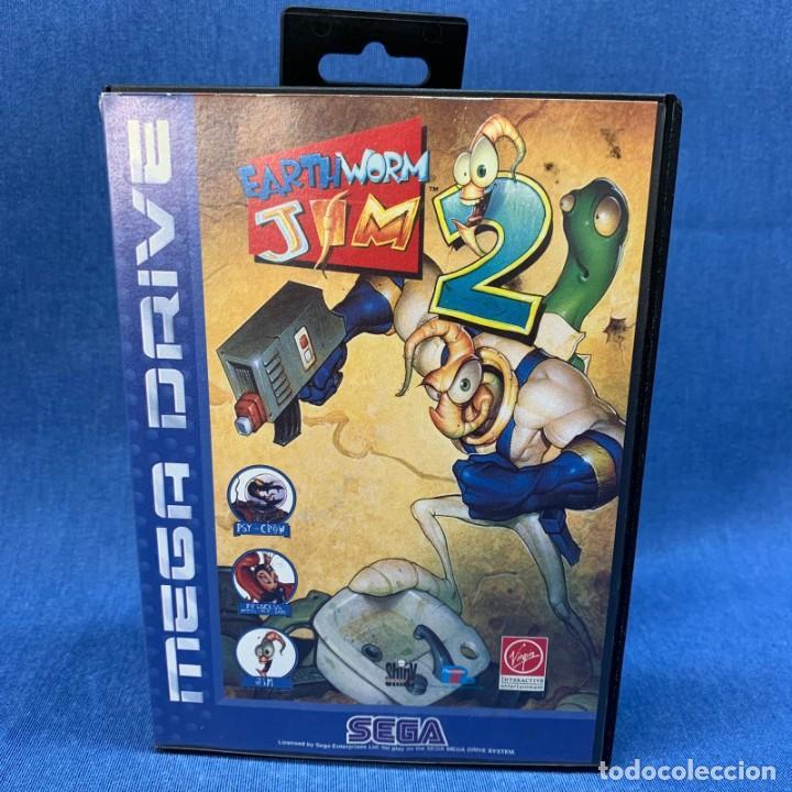 VIDEOJUEGO SEGA MEGA DRIVE - EARTH WORM JIM 2 + CAJA + INSTRUCCIONES (Juguetes - Videojuegos y Consolas - Sega - MegaDrive)