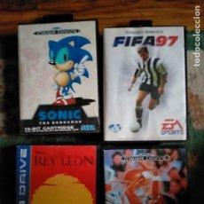 Videojuegos y Consolas: LOTE DE JUEGOS SEGA MEGA DRIVE EL REY LEON SONIC THE HEDGEHOG. Lote 262079955