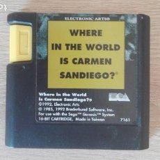 Videojuegos y Consolas: WHERE IN THE WORLD IS CARMEN SANDIEGO ?-SEGA MEGADRIVE MEGA DRIVE-EA-1992-PAL-SOLO CARTUCHO.. Lote 283625513