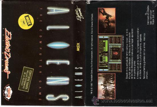 ALIENS. ELECTRIC DREAMS.CONTIENE MAPA. 1987. (Juguetes - Videojuegos y Consolas - Msx)