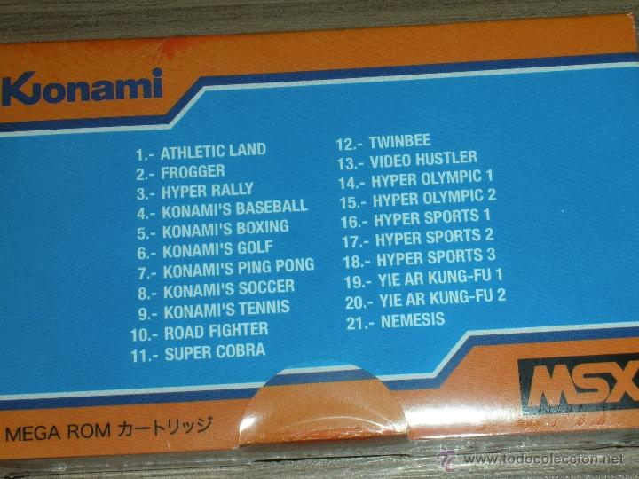 Videojuegos y Consolas: Cartucho MSX MSX2 21 Juegos KONAMI COMPILATION Vol.1 FROGGER , TWIN BEE , NEMESIS ,ROAD FIGHTER etc - Foto 3 - 232322160