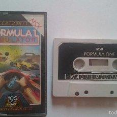 Videojuegos y Consolas: JUEGO FORMULA 1 ONE SIMULATOR MSX PHILIPS PAL 199 RANGE.UK.. Lote 56808590