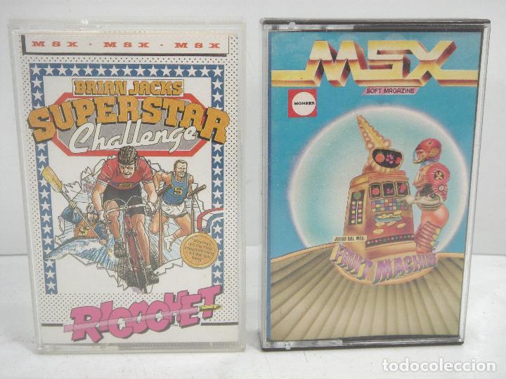 2X VIDEO JUEGO MSX- SUPERSTAR CHALLENGE RICOOHET -FRUIT MACHINE - CASETTE VIDEOJUEGO CASETE CASET (Juguetes - Videojuegos y Consolas - Msx)