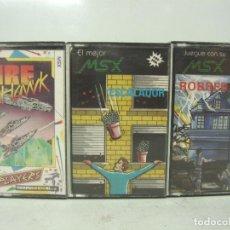 Videojuegos y Consolas: 3X VIDEO JUEGO-MSX FIRE HAWK ROBBER ESCALADOR - SOLO CARATULAS - CASETE CASETTE . Lote 100279891