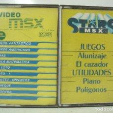 Videojuegos y Consolas: 2X VIDEO JUEGO - MSX-STARS ALUNIZAJE EL CAZADOR COCHE FANTASTICO CHAS AGENDA -CASETE CASETTE. Lote 100280047