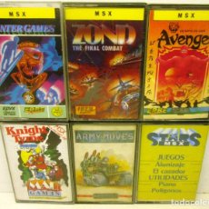 Videojuegos y Consolas: MSX, LOTE 6 JUEGOS, KNIGHT TYME-AVENGER-ARMY MOVES-ZOND-WINTER GAMES-ALUNIZAJE.., CASETES, CASSETTES. Lote 100374359