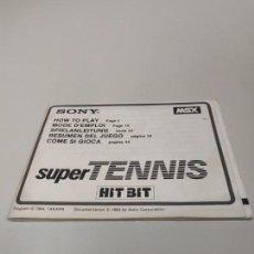 Videojuegos y Consolas: 1018- MANUAL DE INTRUCCIONES SUPER TENNIS HIT BIT MSX 1984 ESPAÑOL ( 5 IDIOMAS). Lote 137727578