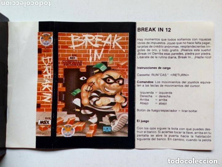 Videojuegos y Consolas: MSX - BREAK IN - 64K - Instrucciones en español - Videojuego en cassette - - Foto 2 - 175132653
