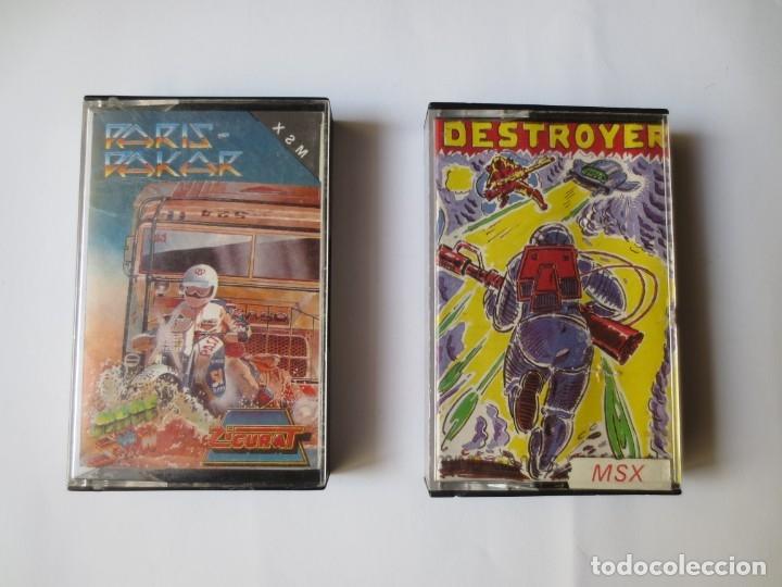 JUEGOS EN CINTA MSX - PARIS DAKAR Y DESTROYER. (Juguetes - Videojuegos y Consolas - Msx)