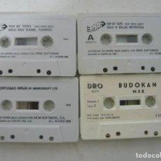 Videojuegos y Consolas: LOTE DE 4 CASSETTES CON VIDEOJUEGOS - MSX - VER FOTOS O DESCRIPCIÓN CONTENIDO. Lote 204705917