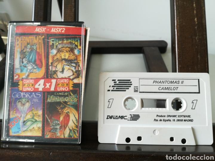 Videojuegos y Consolas: Juego MSX - MSX 2 casete Cuatro por Uno/ Incluye 4 juegos: Abu Simbel, Cobras, Phantomas 2 y Camelot - Foto 2 - 217897713