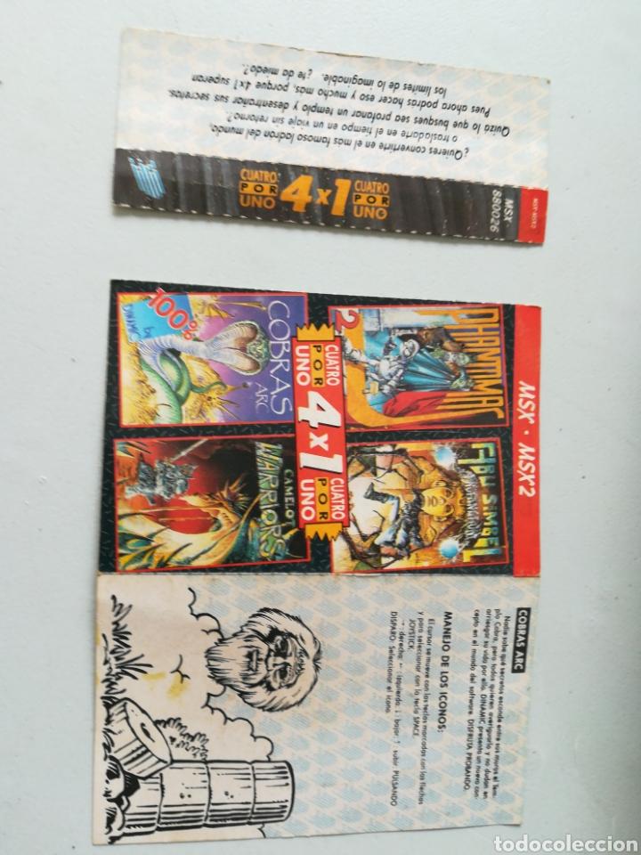 Videojuegos y Consolas: Juego MSX - MSX 2 casete Cuatro por Uno/ Incluye 4 juegos: Abu Simbel, Cobras, Phantomas 2 y Camelot - Foto 5 - 217897713