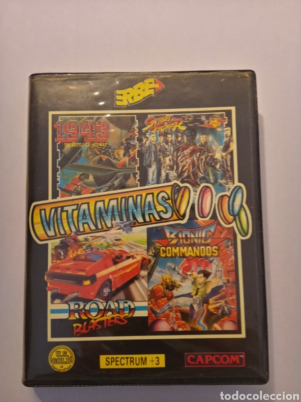 VITAMINAS LOTE DE VIDEOJUEGOS (1943, STREET FIGHTER, ROAD BLASTERS, BIONIC COMMANDS) SPECTRUM +3 (Juguetes - Videojuegos y Consolas - Msx)
