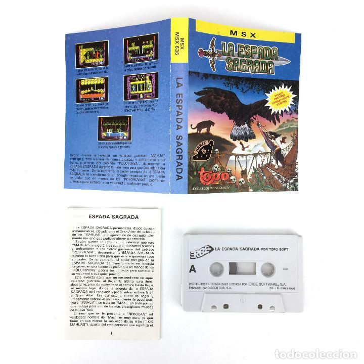 Videojuegos y Consolas: LA ESPADA SAGRADA - TOPO SOFT ESPAÑA 1990 VIDEOAVENTURA TPM JORGE AZPIRI ORDENADOR MSX CASSETTE MSX2 - Foto 2 - 229239110