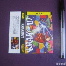 Videojuegos y Consolas: KRAKOUT - MSX - ERBE - SOLO CARATULA - NUEVA -. Lote 235484140