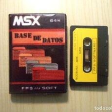 Videojuegos y Consolas: JUEGO 'BASE DE DATOS FPS SOFT' MSX. Lote 288586433