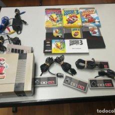 Videojuegos y Consolas: LOTE CONSOLA NINTENDO NES 4 MANDOS CON ADAPTADOR, 3 JUEGOS Y CABLES, SUPER MARIO 2 Y 3 Y THE SIMPSON. Lote 155835958
