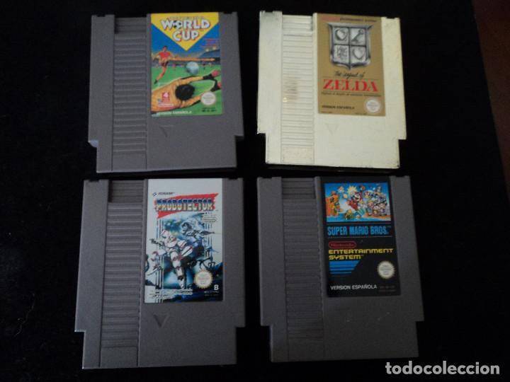 4 JUEGOS DE NINTENDO,ZELDA, PROBOTECTOR, SUPER MARIO Y WORLD CUP (Juguetes - Videojuegos y Consolas - Nintendo - Nes)