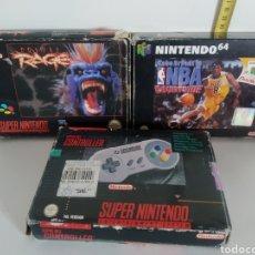 Videojuegos y Consolas: LOTE DE VIDEO DIFÍCIL NBA JUEGOS Y MANDO N64, SNES. Lote 265121949