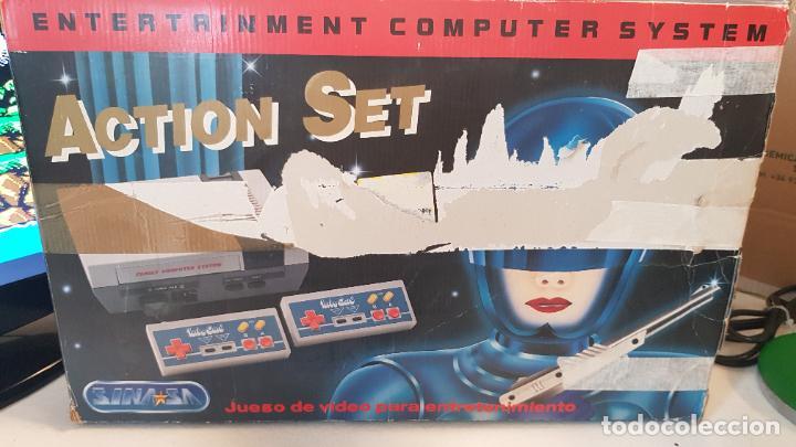Videojuegos y Consolas: Consola Action Set SINASA. Clon, Nintendo Nes, símil, con caja original. - Foto 8 - 269302143