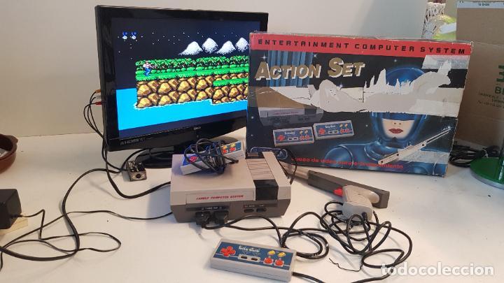 CONSOLA ACTION SET SINASA. CLON, NINTENDO NES, SÍMIL, CON CAJA ORIGINAL. (Juguetes - Videojuegos y Consolas - Nintendo - Nes)