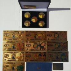 Videojuegos y Consolas: POKEMON - 5 MONEDAS + 10 BILLETES ORO 24K - CERTIFICADO. Lote 296745013