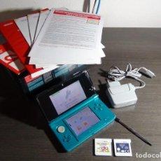 Videojuegos y Consolas: NINTENDO 3DS AQUA BLUE + 2 JUEGOS - MARIO PARTY STAR RUSH - CARS 2. Lote 148516526