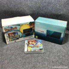 Videojuegos y Consolas: PACK CARREFOUR CONSOLA NINTENDO 3DS AQUA BLUE+INAZUMA ELEVEN 2 VENTISCA ETERNA. Lote 179344675
