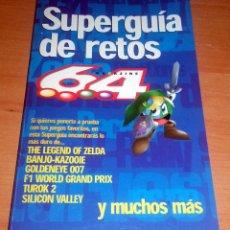 Videojuegos y Consolas: SUPERGUIA DE RETOS NINTENDO 64 ZELDA MARIO KART WAVE RACE BANJO-KAZOOIE GOLDENEYE DIDDY RACING F1. Lote 55357862