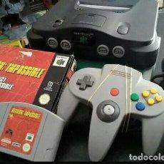 Videojuegos y Consolas: NINTENDO 64 PACK CONSOLA+CABLES+MANDO+JUEGO EN CAJA N64. Lote 121890031