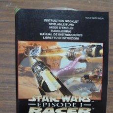 Videojuegos y Consolas: MANUAL DEL JUEGO STAR WARS EPISODE I RACER PARA NINTENDO 64. Lote 261648045