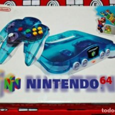 Videojuegos y Consolas: CONSOLA NINTENDO 64 N64 CLEAR BLUE CON CAJA SUPER MARIO PAL EUR MUY BUEN ESTADO. Lote 270176118