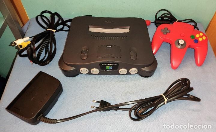 CONSOLA NINTENDO 64 CON MANDO ROJO CABLES ETC FUNCIONA CORRECTAMENTE EN MUY BUEN ESTADO (Juguetes - Videojuegos y Consolas - Nintendo - Nintendo 64)
