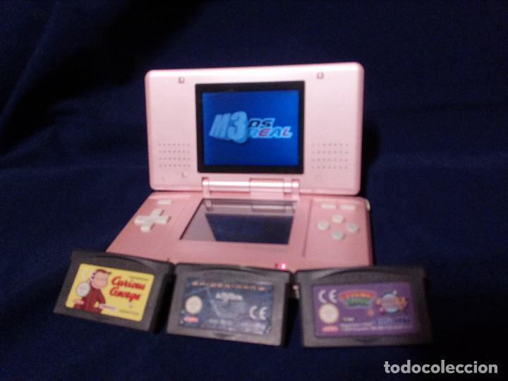 VIDEOCONSOLA PORTATIL, NINTENDO DS MOD NTR-001, ROSA PERLADO.FUNCIONA.3 CARTUCHOS JUEGOS Y TARJETA. (Juguetes - Videojuegos y Consolas - Nintendo - DS)
