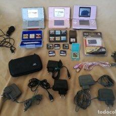 Videojuegos y Consolas: LOTE NINTENDO DS, 3 CONSOLAS, 1 FUNDA, 10 JUEGOS Y ACCESORIOS. Lote 182480858