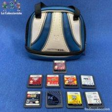 Videojuegos y Consolas: NINTENDO DS- LOTE BOLSO BRUNSWICK + 9 JUEGOS NINTENDO DS -GUITAR HERO , FIFA 08 , FIFA 11, STAR WAR. Lote 206324473