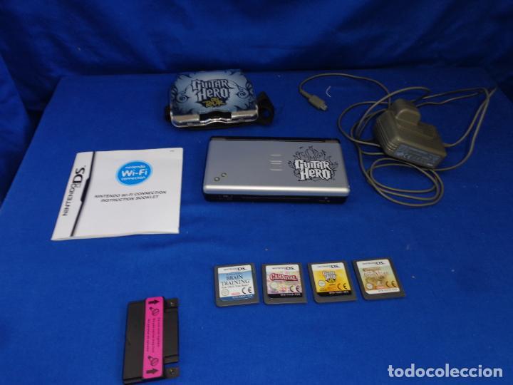 """NINTENDO - DS LITE GUITAR HERO CON CARGADOR Y CUATRO JUEGOS """"FUNCIONANDO"""" VER FOTOS! SM (Juguetes - Videojuegos y Consolas - Nintendo - DS)"""