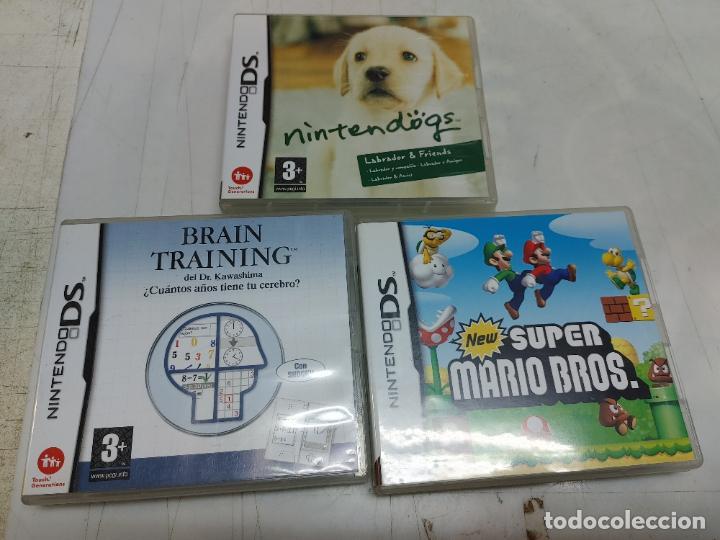 LOTE 3 JUEGOS NINTENDO DS. SUPER MARIO BROS BRAIN TRAINING Y NINTENDOGS LABRADOR (Juguetes - Videojuegos y Consolas - Nintendo - DS)
