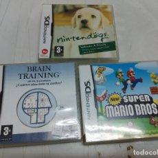 Jeux Vidéo et Consoles: LOTE 3 JUEGOS NINTENDO DS. SUPER MARIO BROS BRAIN TRAINING Y NINTENDOGS LABRADOR. Lote 253276010