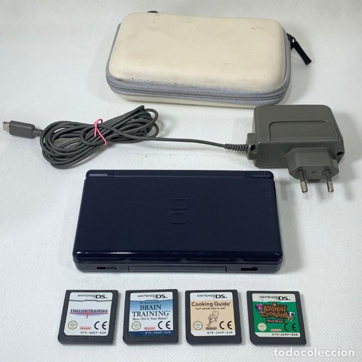 CONSOLA NINTENDO DS LITE AZUL OSCURO +4 JUEGOS + CARGADOR + ESTUCHE BLANCO (Juguetes - Videojuegos y Consolas - Nintendo - DS)