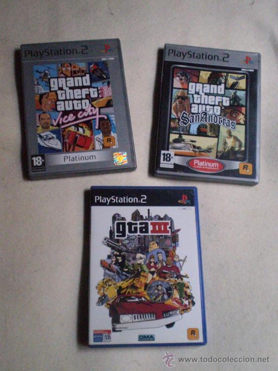 JUEGOS PLAY STATION 2 GTA 3,SAN ANDREAS Y VICE CITY + GUIAS.ENVIO GRATIS.REGALO LIBERTY CITY STORIES (Juguetes - Videojuegos y Consolas - Sony - PS1)