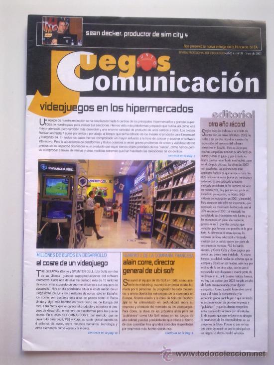 REVISTA JUEGOS PUNTO COMUNICACION Nº 39 - ENERO 2003 - VIDEOJUEGOS EN LOS HIPERMERCADOS,ETC - 32 PGS (Juguetes - Videojuegos y Consolas - Sony - PS1)