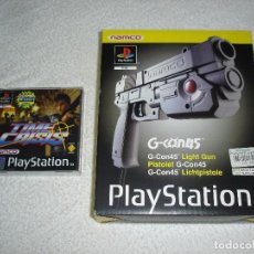 Videojuegos y Consolas: PLAY STATION 1 - PISTOLA NAMCO G-CON45 LIGHT GUN Y JUEGO TIME CRISIS ---- NUEVOS. Lote 82649204
