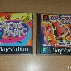 Videojuegos y Consolas: GHOUL PANIC Y RESCUE SHOT PLAYSTATION PAL ESPAÑA NAMCO JUEGOS PISTOLA GCON 45. Lote 132717122
