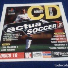Videojuegos y Consolas: PLAYSTATION DISCO 16 ( ACTUA SOCCER 2 ) 1998 EURO DEMO 29 ( 5 DEMOS JUGABLES + VIDEOS ). Lote 153716478